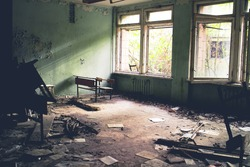 Room in the abandoned elementary school number 3 in Pripyat, Ukraine, site of the 1986 Chernobyl nuclear desaster.