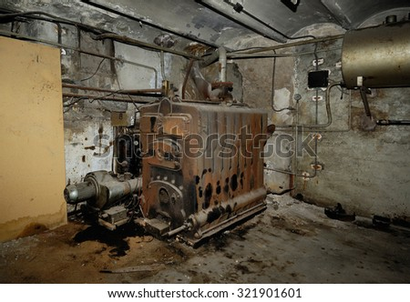 room in the basement of a boiler