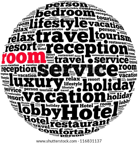 Room info-text graphics and arrangement concept on white background (word cloud)