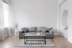 Room interior, modern home design with furniture. Grey sofa at white apartment, living room in simple style. Scandinavian flat with stylish minimal decor, space for relax.
