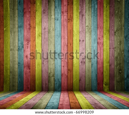 room interior vintage with colorful wooden tiles