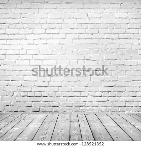 Shutterstock room interior vintage with white brick wall and wood floor background