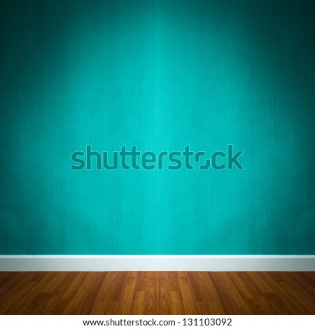 room interior with blue wallpaper