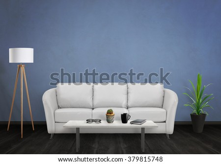 Room interior with free space on the wall for picture. Sofa, lamp, plant and table inside. #379815748