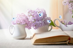 Room interior with lilacs flower in vase, old vintage open fairytale book on table and flying butterflies, tender romantic spring home decor in morning light, soft focus, reading literature concept.