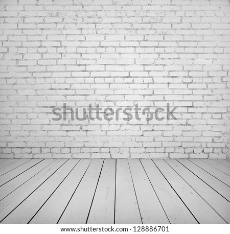 Room interior with white brick wall and wooden floor painted in white