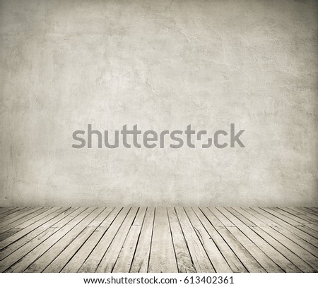 Room interior with white stucco wall and wooden floor #613402361