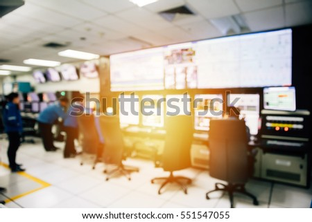 Room of control devices in the manufacturing shop of plant,engineers work