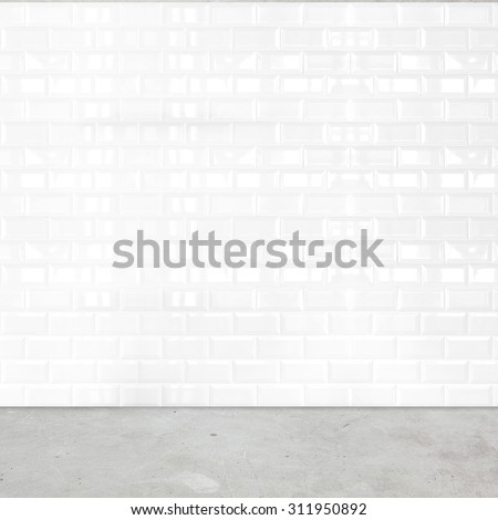 Room perspective,white ceramic tile wall and cement ground.