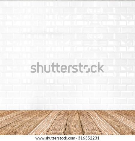 Room perspective,white ceramic tile wall and wooden ground, Mock up template for display of product