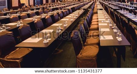 Room setup for a presentation ,lecture or seminar ,Prepare conference in the hotel.