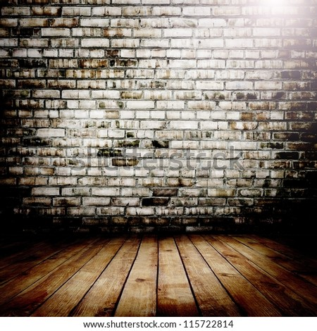 Room. The brown brick texture and wood floor with natural patterns background