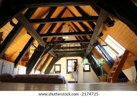 room under the roof, with dark wooden beams