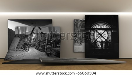 Room whit a panel whit photography