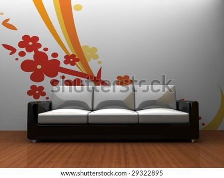 room with a sofa and pattern wall with white space for customization