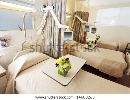 Room with beds in hospital