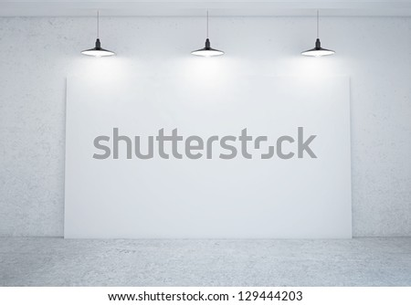 room with blank poster on wall