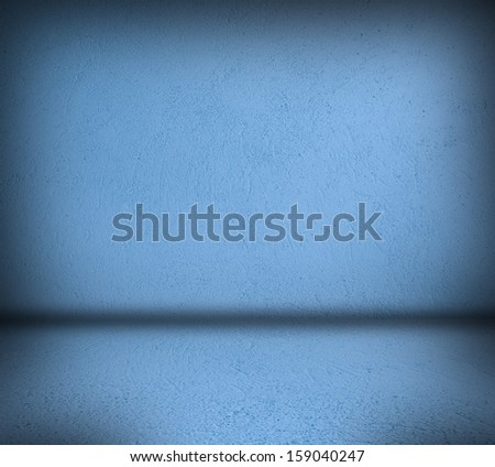 Room with blue concrete pattern wall background