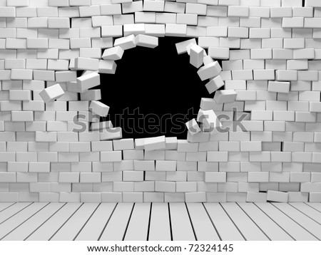 Room with broken brick wall