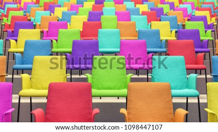Room With Colorful Chairs 3d render 3d illustration