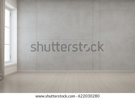 Room with empty concrete wall background in modern house, Minimal interior design of new home - 3D rendering