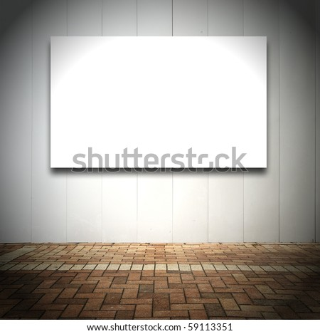 Room with empty white board or canvas