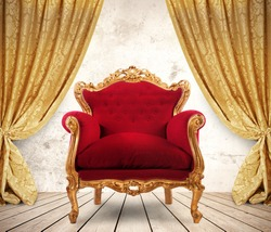 Room with golden curtains and royal armchair