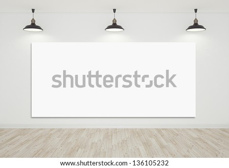 room with laminate floor and blank cardboard Foto stock ©