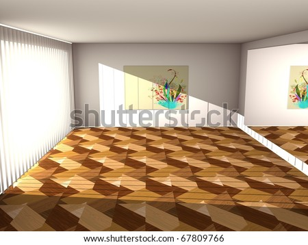 room with laminate floor, mirror on the wall, painting and window through which shine bright beams of light. 3d computer modeling