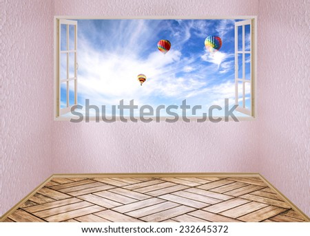 Room with open window and dreamland day light blue sky with air balloons, skyline view clouds outside outdoors. Happiness freedom escape life perception carefree success peace of mind wellness concept