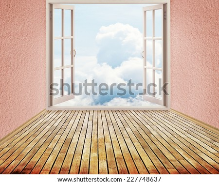 Room with open window and dreamland day light sky skyline view clouds outside outdoors. Happiness, freedom, escape, life perception, carefree, success, peace of mind, wellness concept