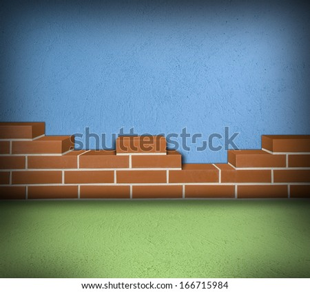 Room with partially built red brickwall and blue concrete background