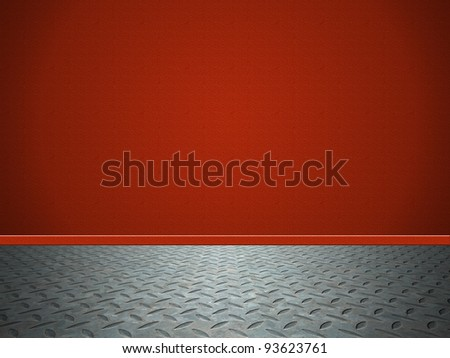room with red wall and metal floor