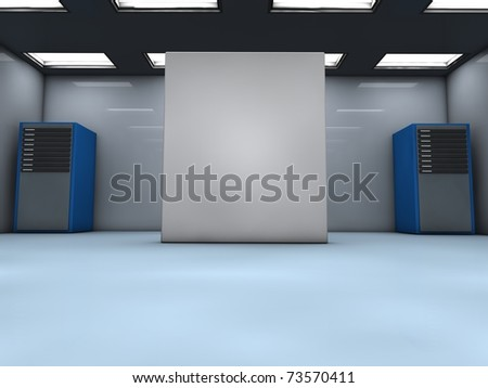 Room with servers and a blank box