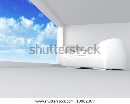 room with sofa in light tones with blue of the sky in the open window