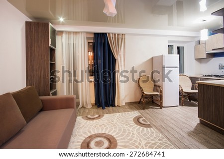 Room with soothing colors, homely atmosphere. studio apartment #272684741