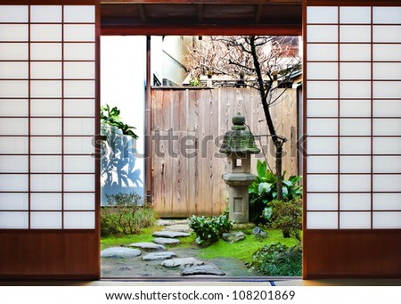 Room with the Garden View in a Japanese Tea House at Higashi-Chaya District in Kanazawa