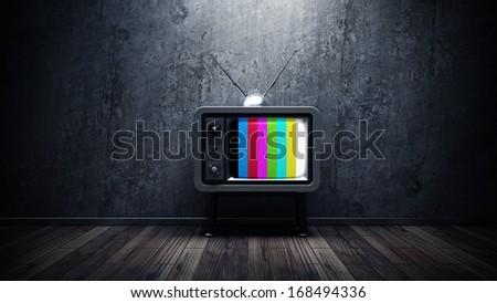 room with vintage TV. interior background. High resolution 3d render