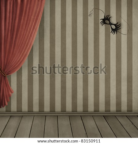 Room  with vintage wallpaper, curtains and mask