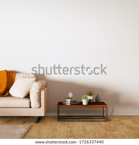 Room with Wooden Flooring and Modern Cozy Sofa 3D Rendering. Front view and empty walls can be used as frame, print, decor mockup. Photo stock ©