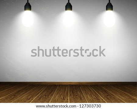 Room with wooden floors and bright lights. Raster version.