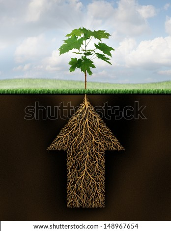 Root of success as a growth business concept with a new sprouting tree emerging from underground roots shaped as an arrow that is going up as a financial symbol of future investment potential.