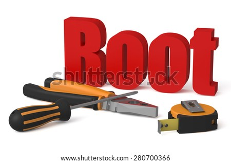 Root service and repair concept isolated on white background Foto stock ©
