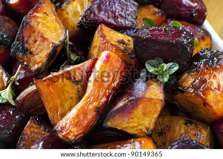 Root vegetables roasted with balsamic and thyme.  Includes beetroot, carrots, and sweet potato.