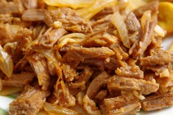 Ropa vieja: typical Cuban gastronomy plate of beef strip meat cooked.