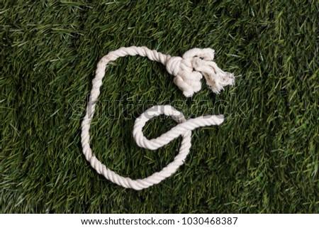 Rope alphabet on grass. Letter G #1030468387