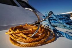 Rope and anchor detail on boat