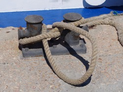rope and Marina bollard on moorage