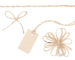 Rope bow tag. Jute wrapping collection for present and hanging pricing. Close up isolated over white