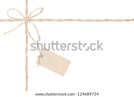 Rope bow tag . Jute wrapping  for present and pricing. Close up.